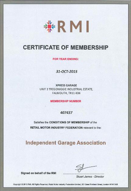 RMI Membership Car Repairs in cornwall